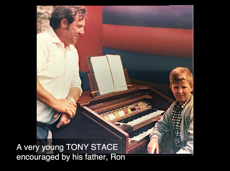A very young Tony encouraged by his father, Ron