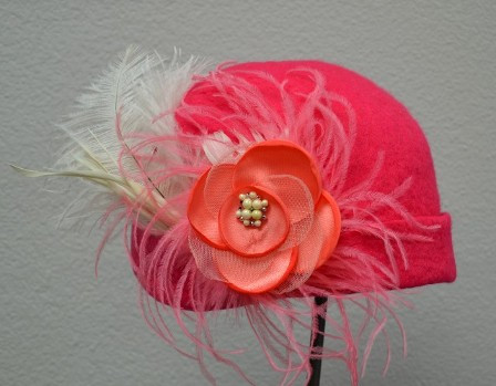 Coral Flowered Hat