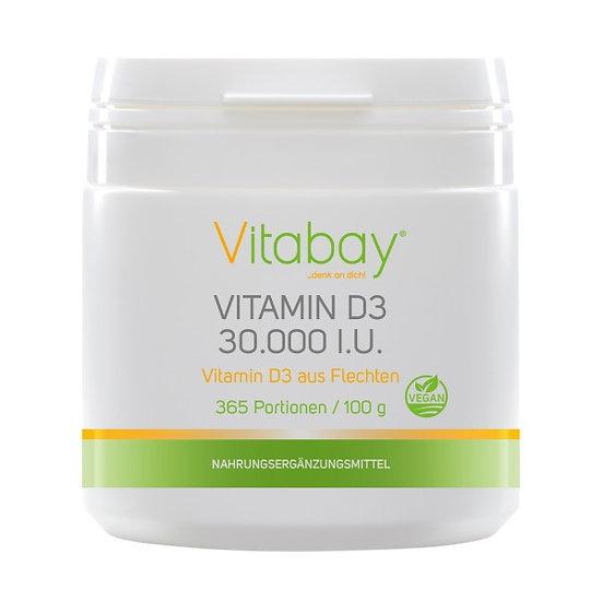 Vitamin D3 30.000 I.E. - veganes Pulver aus Flechten - 365 Porti.