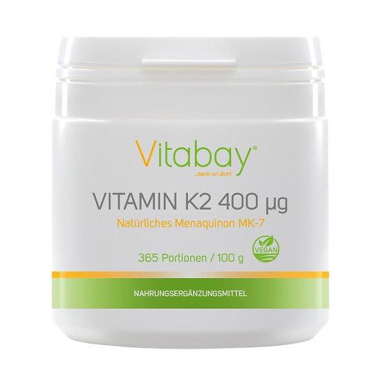 Vitamin K2 Pulver - 400 µg hochdosiert - 365 Portionen Vegan (mi.