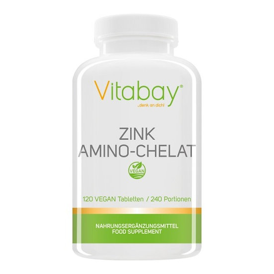Zink Amino-Chelat 240 Portionen mit 15 mg Zink pro halbe Tablett.