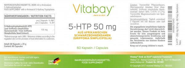 5-HTP (5-Hydroxy-Tryptophan) 100 mg / 50 mg 90 Kapseln