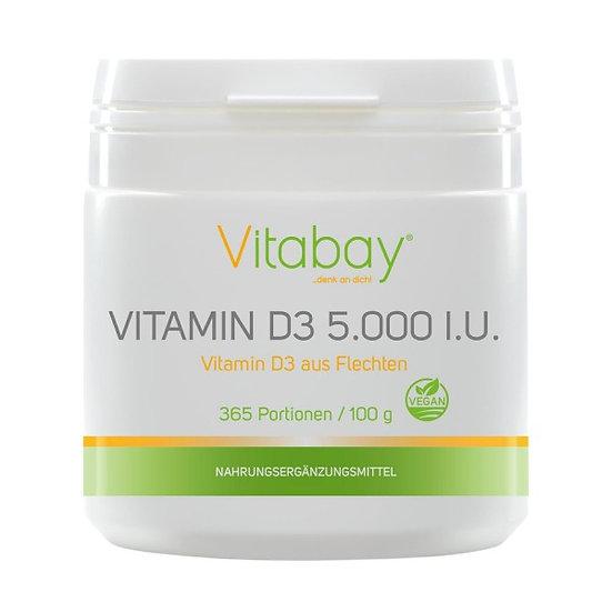 Vitamin D3 Depot 5.000 I.E. - veganes Pulver 100 g - Nur eine Po.