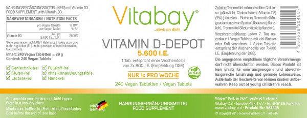 Vitamin D3 5.600 I.E. / I.U. - 240 Vegan Tabletten