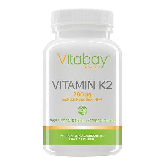 Vitamin K2 200 µg (natürlich Menaquinon MK-7) - 365 Vegane Table.