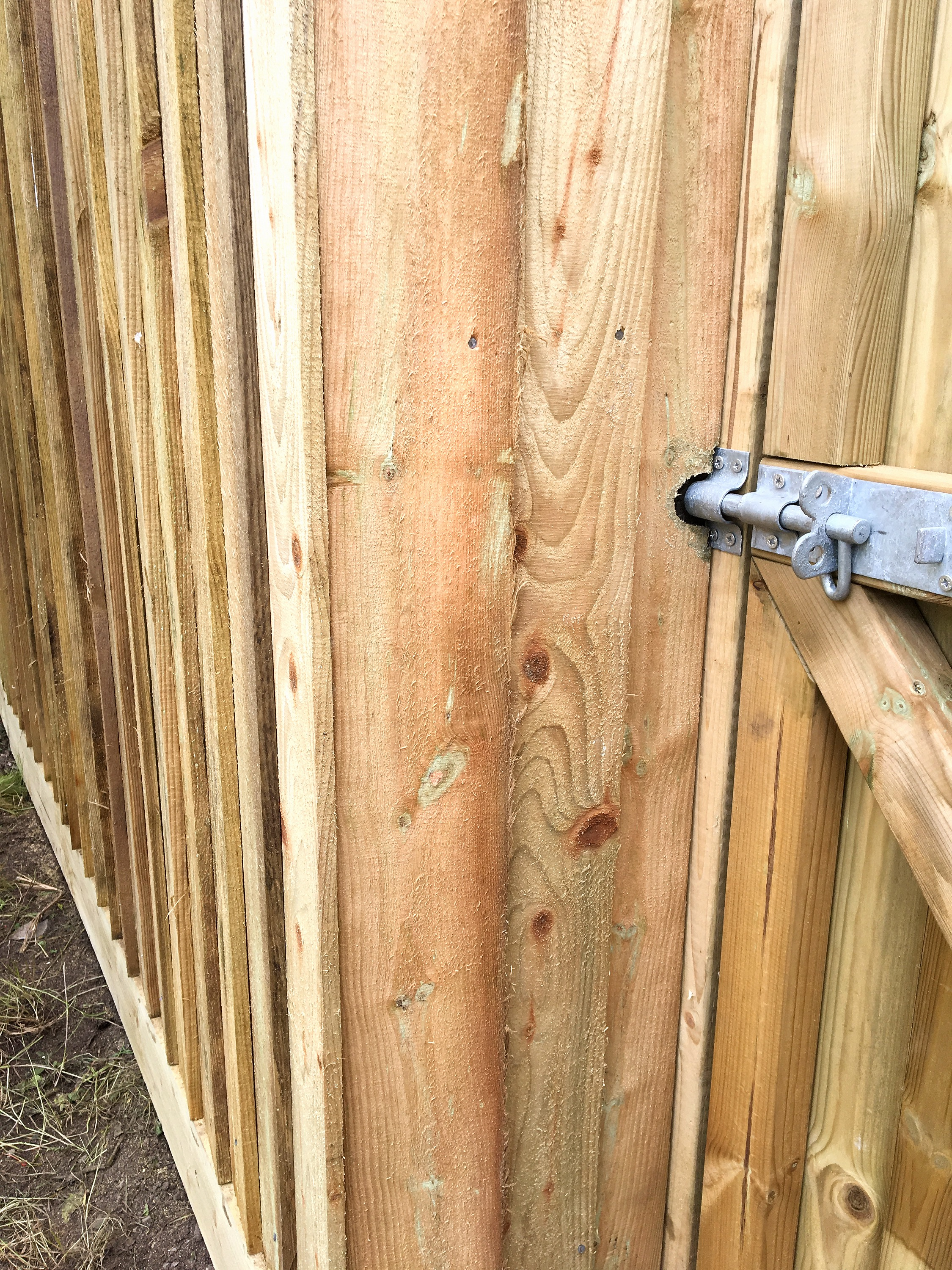 Deadbolt fitted to custom made gate and
