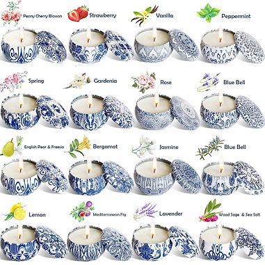 Blue Pattern Citronella Candles