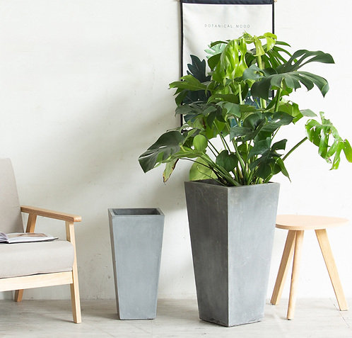 Cement planter high-trapezoid