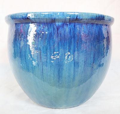 Blue Round Ceramic Flower Pot