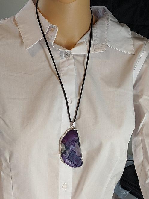 Purple Agate Pendant on Cord
