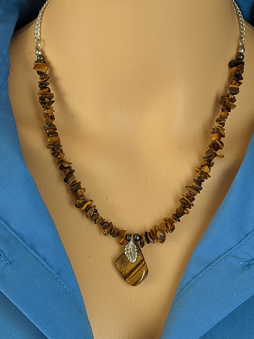 Tiger Eye Silver Leaf Pendant