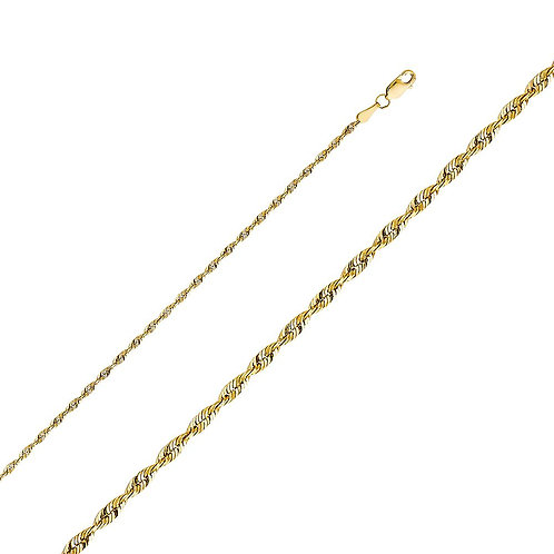 14k Yellow Gold 2.5-mm Solid Rope Chain Necklace