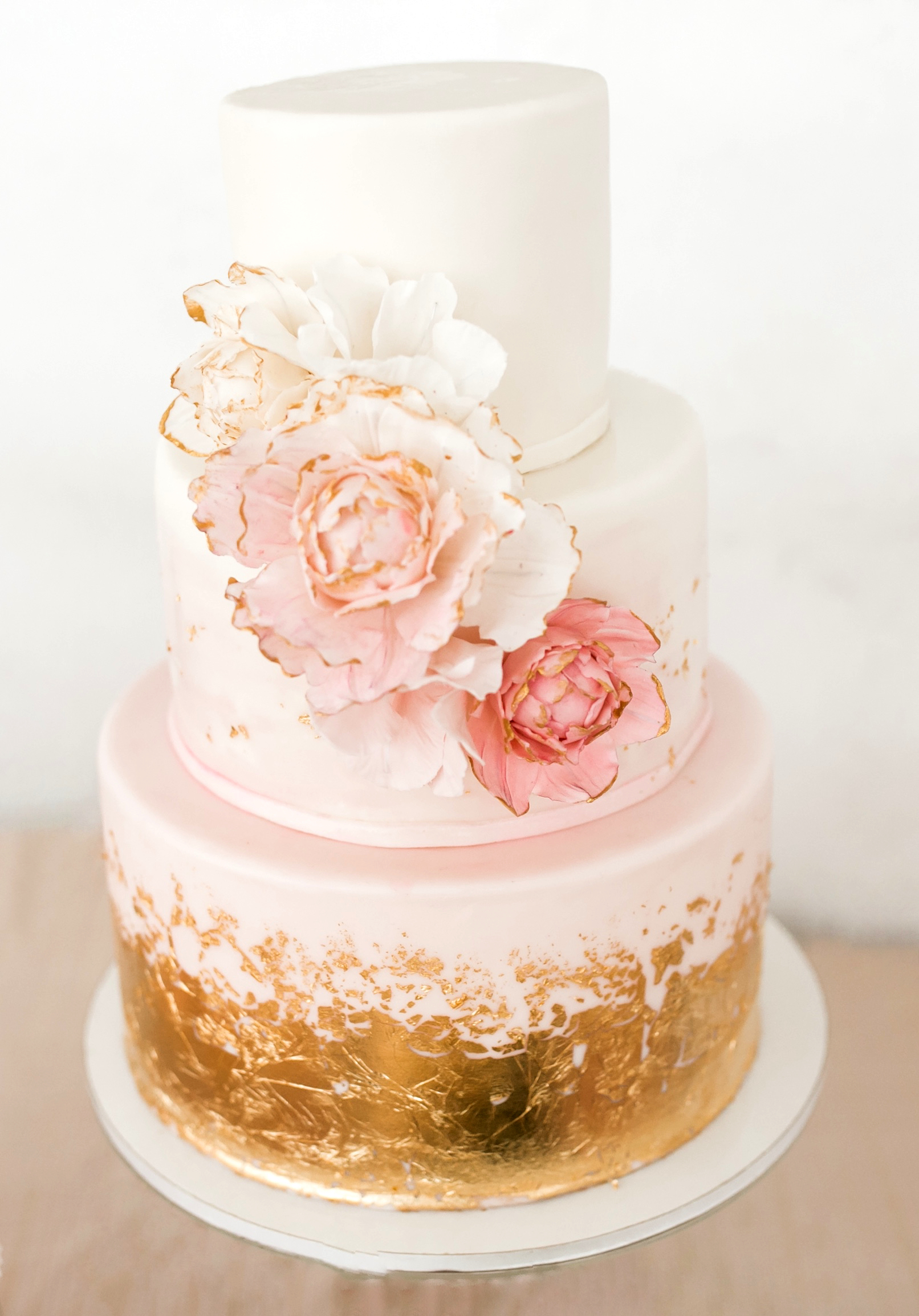 Flower Cake with Gold Leaf