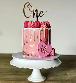 Pink first cake