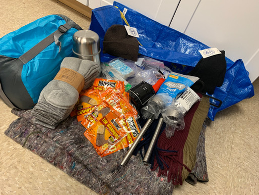 Cold Weather Kits, Camping Kits, and Tarp Kits for Camp Fire Survivors