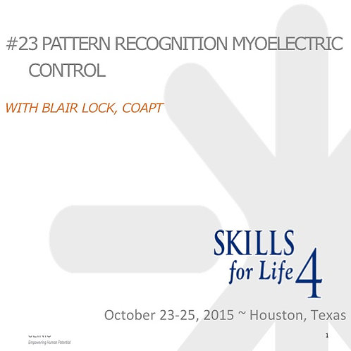 2015 SFL5 #23: Pattern Recognition Myoelectric Control