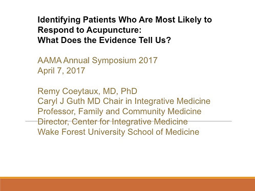 2017 AAMA Plenary #02: Remy Coeytaux, MD, PhD
