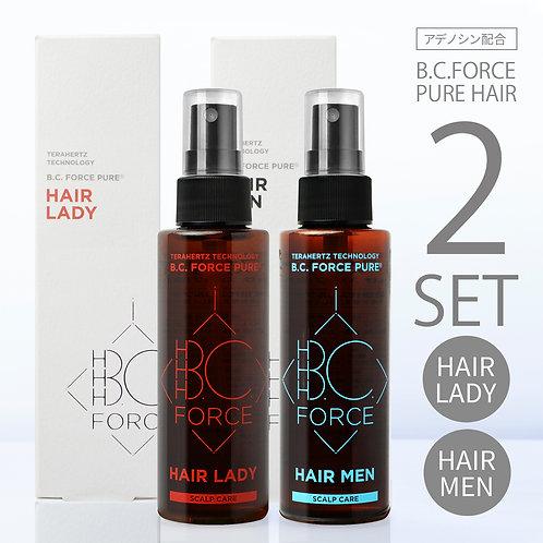 【2セット】 無添加 育毛剤 スカルプケア 頭皮 髪 アデノシン 配合 | B.C.FORCE PURE HIAR ピュア ヘア メン + レディー セット |