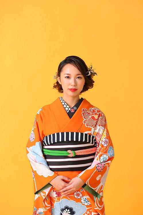 流れに鶴 オレンジ