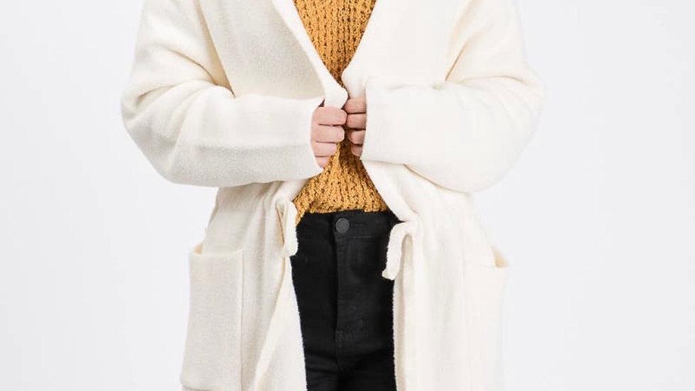 Fuzzy hooded cardigan