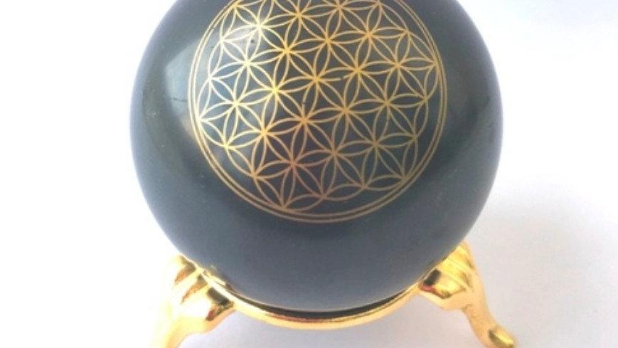 Shungite Flower of Life Sphere 50mm