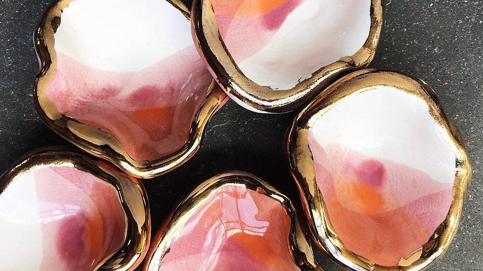 Ceramic Mermaid smudge bowl with 22K Gold