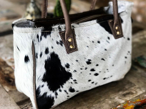 Dark Chocolate & White Hair on Hide Genuine Leather Bag