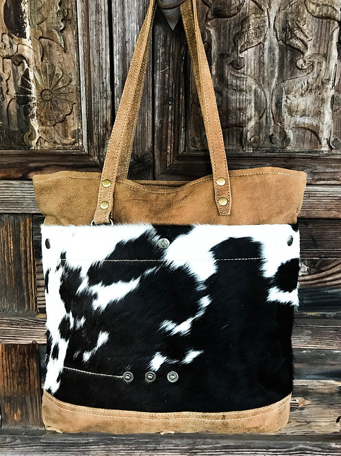 Black & White Hair On Hide Genuine Leather Tote Bag
