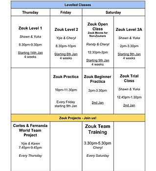 January 2021 Zouk Schedule