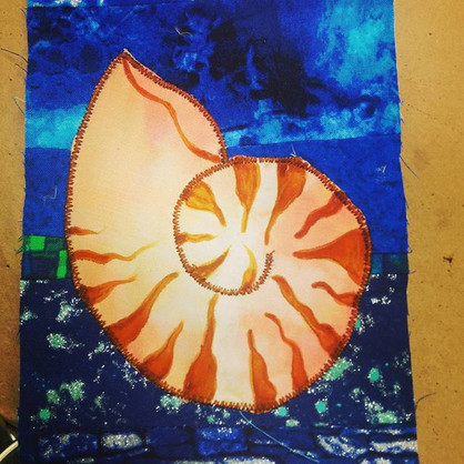 Hand painted nautilus