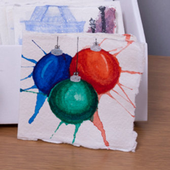 Hand painted watercolour, Xmas baubles card, 3x3 inch