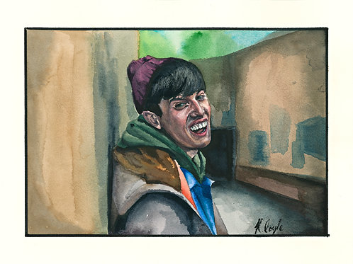 Original Methadone Mick Still Game watercolour painting 9x12""