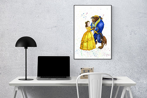 Beauty and the Beast A4 Watercolour Print