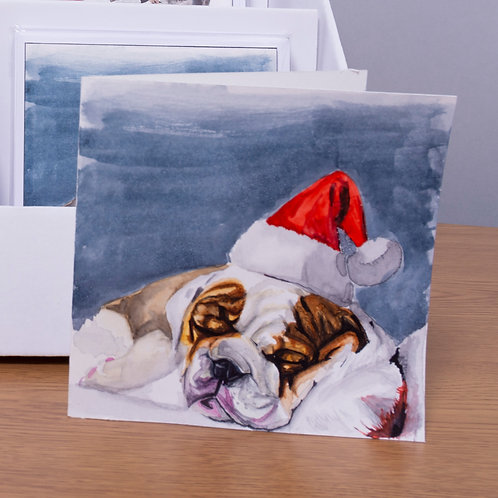 Bulldog Christmas card 5x5 inch
