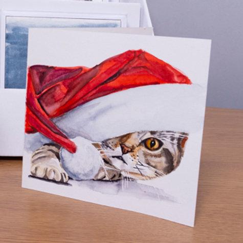 Kitten in Santa hat Christmas card