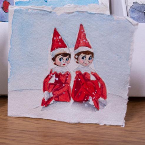Elf on the Shelf Christmas card, 3x3 inch
