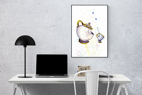 Mrs Potts and Chip Watercolour Print