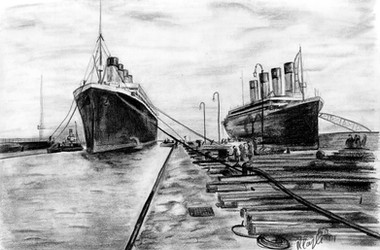titanic and olympic graphite sketch