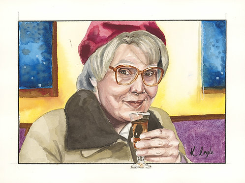Original Isa Still Game watercolour painting 9x12""