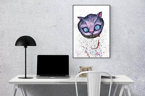 Chesire Cat A4 watercolour print