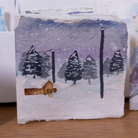 Cabin in the woods with snow, Christmas card, 3x3 inch