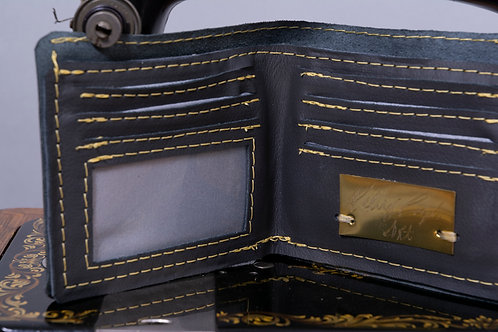 Charcoal Waste not, Want not, genuine leather wallet