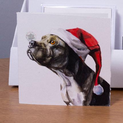 Staff with Santa hat Christmas card 5x5 inch