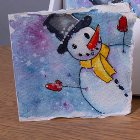 Snowman with carrot Christmas card, 3x3 inch