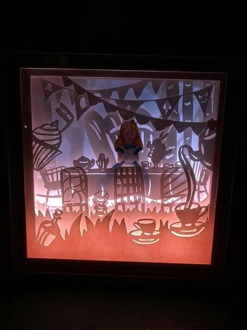 "Alice in wonderland tea party scene 9x9"" lightbox/nightlight"