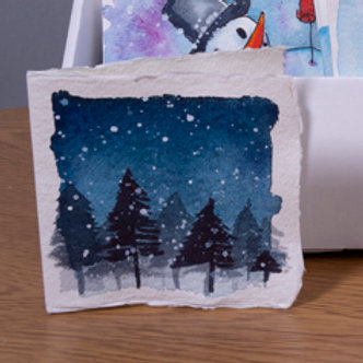 Snowy forrest at night Christmas card, 3x3 inch