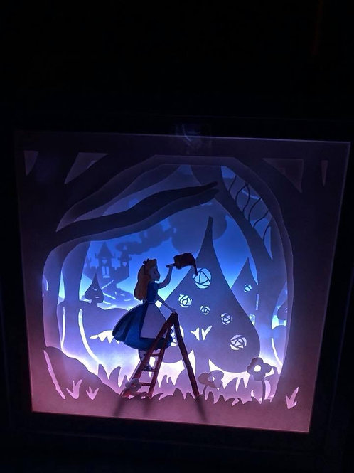 "Alice painting the roses red 9x9"" lightbox/nightlight"
