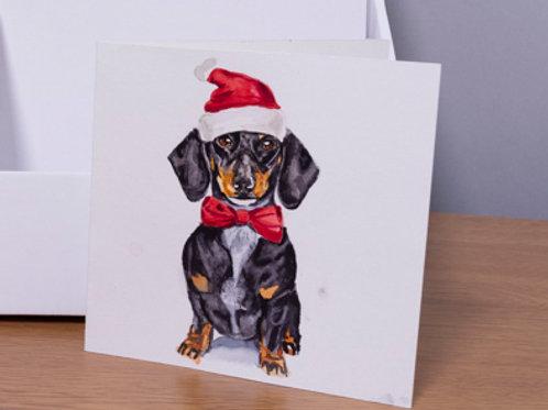 Beautiful Dashound printed Christmas card 5x5 inch