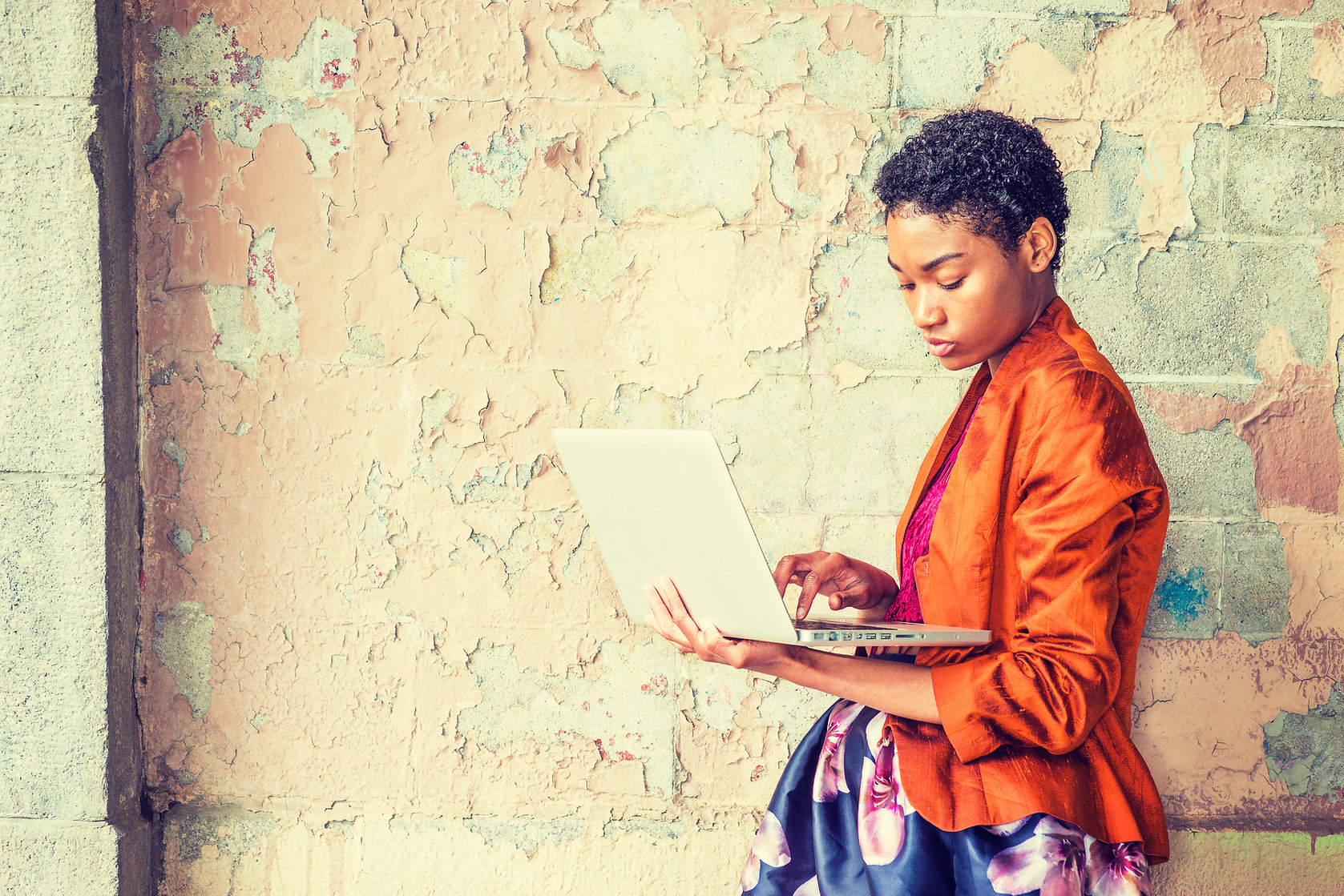 Young African American Woman studying, w