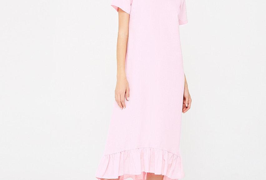Ночная сорочка из льна с воланом